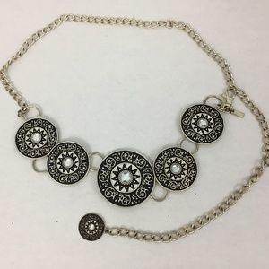 Chico's Women's Belt black Silver Medallion Chain
